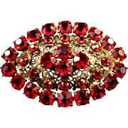 Vintage 1930s Brass and Red Fiery Rhinestone Large Filigree Brooch