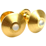 Vintage DUNHILL Moonstone Cabochon and 14 Karat Yellow Gold Plated Cufflinks