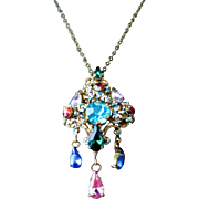 Antique CZECH Art Deco Brass and Drop Rhinestone Filigree and Enamel Necklace
