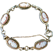 """Vintage 1950s Hand Carved Shell Cameo 12K Yellow Gold Filled 7"""" Bracelet"""