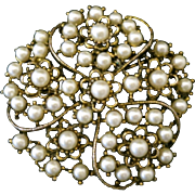 Vintage 1950s Brass and Imitation Pearl Floral Large Brooch