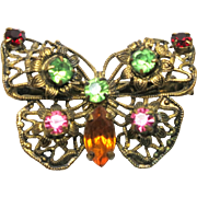 Antique Turn-of-the-Century Edwardian Brass and Green, Pink, Orange and Red Rhinestone Butterfly Brooch