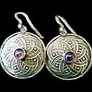 Vintage Amethyst Cabochon and Sterling Silver Mandala Pierced Earrings