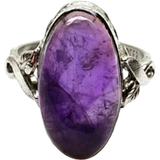 Vintage 1950s Clark and Coombs Amethyst and Sterling Silver Ring Size 4.75