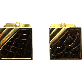 Vintage 1960s SWANK Crocodile Alligator Skin and Gold Tone Cufflinks With Torpedo Toggles