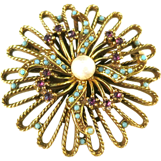 Vintage GOLDETTE 1960s Imitation Turquoise, Pearl, and Purple Rhinestone Flower Brooch in Gold Tone