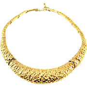 Vintage 1980s MONET Signed Costume Choker Collar Necklace Gold Tone Chunky Large