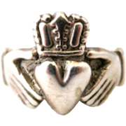 Vintage Sterling Silver Claddagh Unisex Size 8.5 Ring