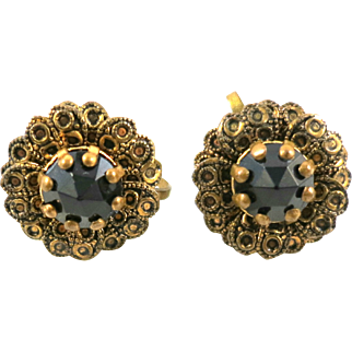 Vintage 1930s Rose Cut Faceted Black Glass and Brass Flower Screw Back Earrings