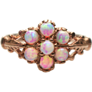 Vintage 14K Rose Gold on Silver White Opal Cluster Victorian Styled Flower  Ring Size 6.5