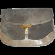 Salvatore Ferragamo Vintage Firenze 2 Gray Leather and Suede Women's Handbag