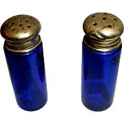 Cobalt Blue Glass Salt & Pepper Shakers with Silver Tops