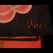 Vera Black Floral & Stripe Oblong Scarf
