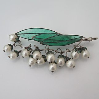 Vintage 1950's Gripoix for Christian Dior Glass Lily of the Valley Brooch / Pin