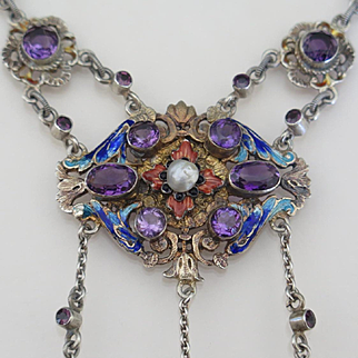 Antique Neo-Renaissance Sterling Silver Amethyst Enamel Necklace