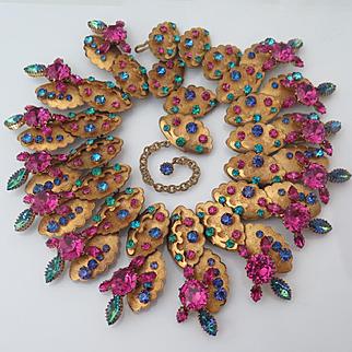 Vintage Countess Cis Zoltowska Rhinestone Collar Necklace