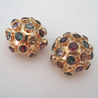 Vintage 18k Gold Sputnik Gemstone Mid Century Clip-On Earrings