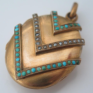 Antique Victorian French Turquoise Seed Pearl Chevron Pendant Locket
