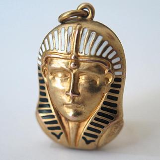 Vintage Art Deco 14k Gold Egyptian Revival Pharaoh Enamel Pendant Locket