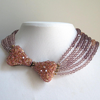 Vintage Coppola E Toppo Pink Glass Bead Bow Tie Necklace
