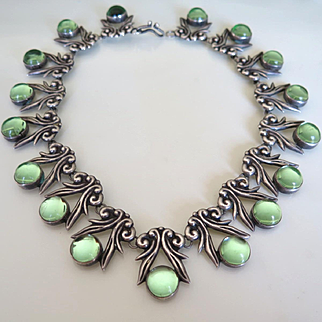 Vintage 1940's Sterling Silver Mexican Taxco Glass Necklace