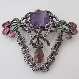 Antique Georgian Sévigné Bow Garland Amethyst Emerald Pearl Brooch