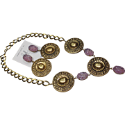 Joseff Beetle Cabochon Necklace and Earring Set