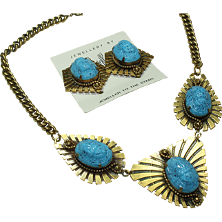 Joseff Blue Stone Necklace and Earring Set