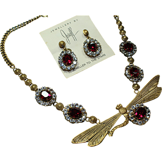 Joseff Dragonfly Necklace and Earring Set