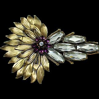 Joseff Clear Peacock Pin