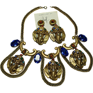 Joseff Elephant Necklace and Earring Set