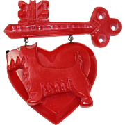 Vintage Plastic Red Heart Scottie Pin