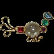 Vintage Jelly-Belly Hobé Sterling Bird Pin