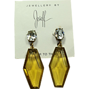 Joseff Golden Crystal Drop Earrings