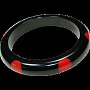 Vintage Bakelite Black with Red Polka Dot Bracelet