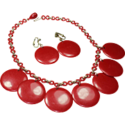 Vintage Circle Red Bakelite Necklace and Earring Set