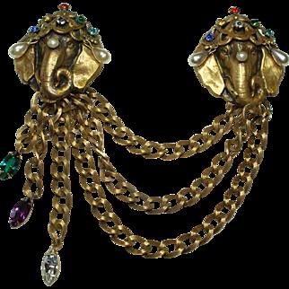 Joseff Multi Jeweled Elephant Chatelaine