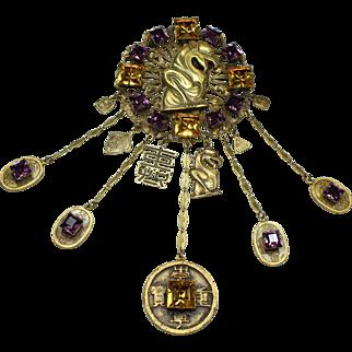 Joseff Yellow and Purple Stone Gargoyle Chain Pin