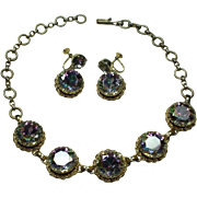 Vintage Schiaparelli Watermelon Crystal Necklace and Earring Set