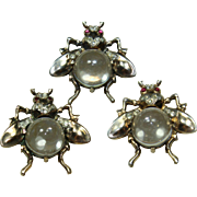 Vintage Sterling Jelly-Belly Fly Trio Pin Set