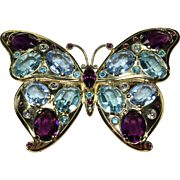 Vintage Jeweled Butterfly Pin