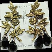Joseff Black Crystal Drop Earrings