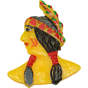 Vintage Plastic Native American Pin