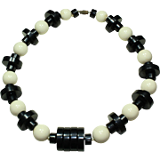 Vintage Plastic Black and White Necklace