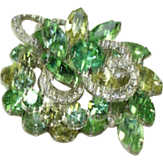 Vintage Green Crystal Eisenberg Pin