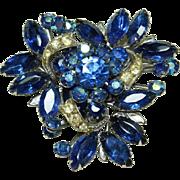 Vintage Blue Crystal Pin