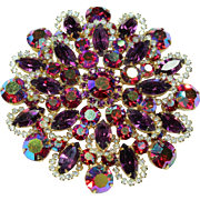 Vintage Purple and Watermelon Crystal Pin