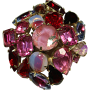 Vintage Pink Crystal Cluster Pin