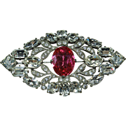 Vintage Eisenberg Original Pink and Clear Crystal Pin
