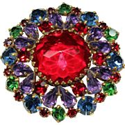 Vintage Weiss Red Crystal Pin